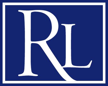 RL logo white border dark blue background