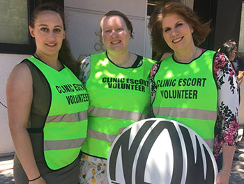 JENAVIEVE HATCH FOR HUFFPOST Volunteer Clinic Escort Supervisors Margot Garnick, Pearl Brady and Theresa White have spent the last year and a half working to build a case against anti-abortion protestors outside Choices in Queens.