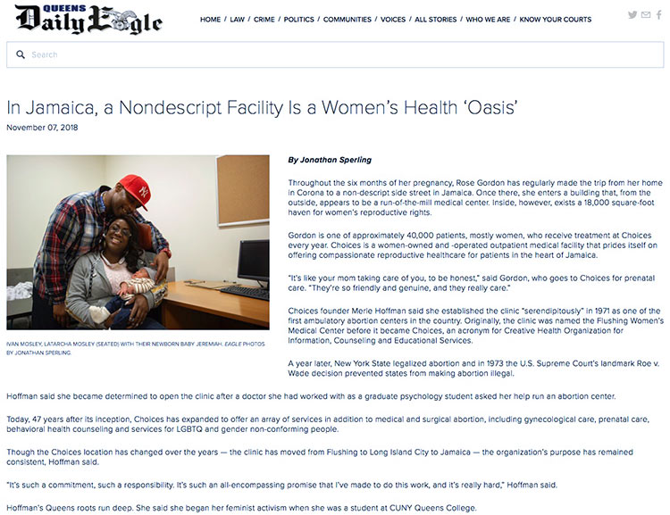 """In Jamaica, a Nondescript Facility Is a Women's Health 'Oasis'"" in the Queens Daily Eagle on November 07, 2018."